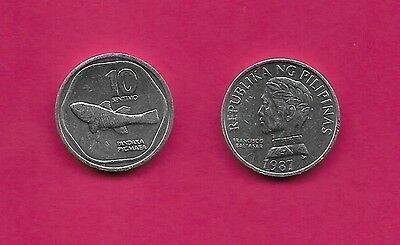 Philippines Rep 10 Sentimos 1987 Unc Pygmy Goby World Smallest Fish,world Confer