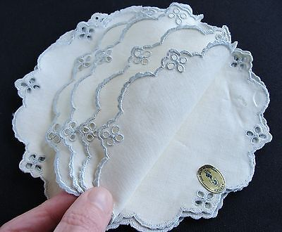 8 Vintage Embroidered Linen Cocktail Rounds Coasters Doilies Unused Portugal