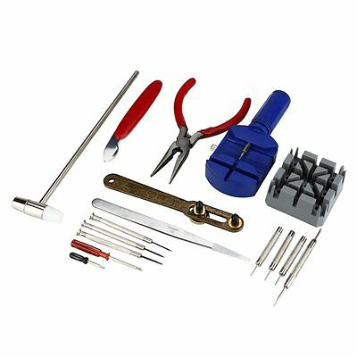 16pc Watch Repair Kit Band Pin Strap Link Remover Back Opener Hammer Screwdriver
