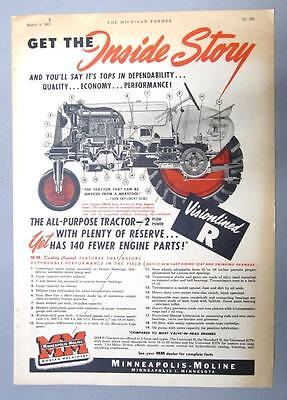 Orig 1951 Minneapolis Moline Model R Tractor Ad GET THE INSIDE STORY VISIONLINED