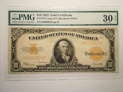 1922 Large $10 Gold Note (Large S/n) Vf30/ Epq Pmg