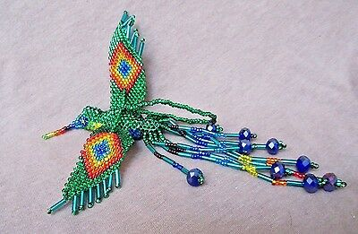 Native Zuni Made Beaded Hummingbird Multi-color Car Charm or Ornament M0066