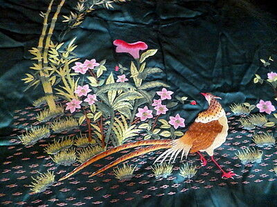LOVELY VINTAGE Green Satin HAND EMBROIDERED Birds Flowers Bedspread Coverlet