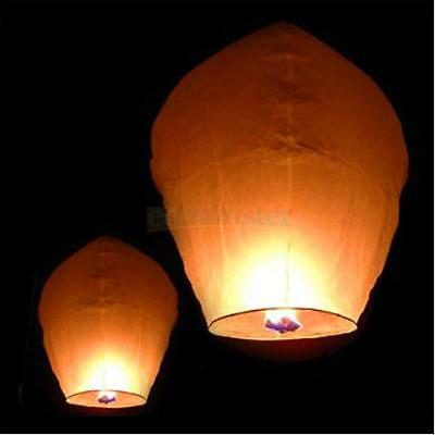 50PCS White Paper Chinese Lanterns Sky Fly Candle Lamp for Wish Party Wedding