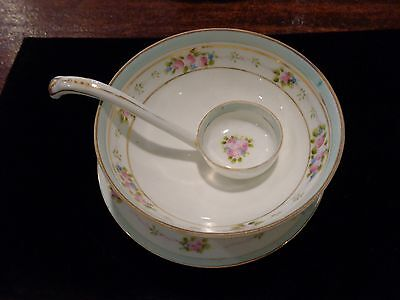 Hand Painted Nippon Mayonnaise Bowl And Underplate 1911 Spoke Mark