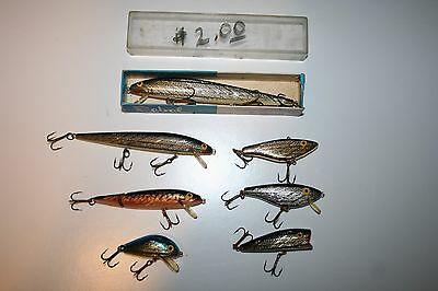 Vintage lot of early Rebel lures-Shad Rac-Pop-R-Minnow-Box