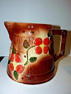 Vintage American Bisque Butter Churn PITCHER Woodgrain Red Dogwood Blossoms 50's