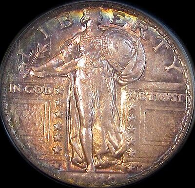 1920 Standing Liberty Quarter..PCGS AU-58..Gorgeously Toned,Very Choice Example!