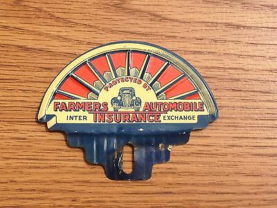 OLD ANTIQUE LICENSE PLATE TOPPER FARMERS AUTOMOBILE INSURANCE 1930s Car Graphics