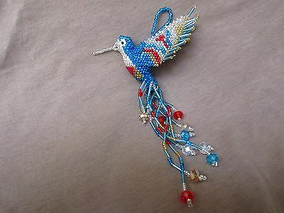 Native Zuni Made Beaded Hummingbird Multi-color Car Charm or Ornament M0068