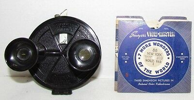 1940's View-Master Round Clamshell Bakelite Viewer with Reels