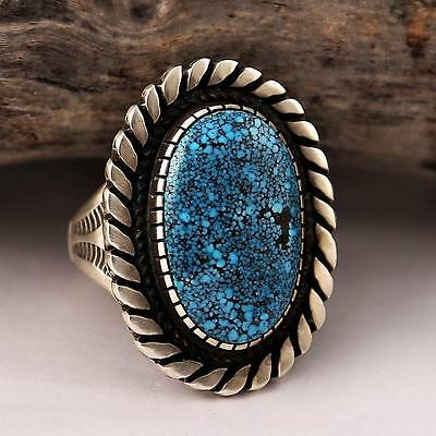 """A+ CALVIN MARTINEZ Natural """"SUPER X""""Turquoise Ring INGOT Silver Sterling 11 MENS"""
