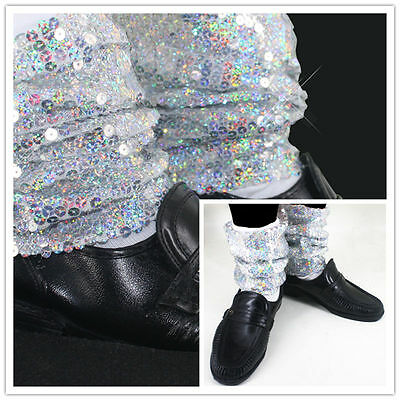 Rare Sequin MJ Micheal Jackson Billie Jean Baggy Ankle Socks handmade for Show