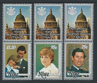 1981 Niue Royal Wedding Charles & Diana Set Of 3 Fine Mint Muh/mnh With Tabs