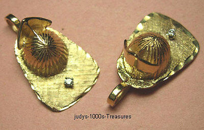 """14k SOLID GOLD FIREFIGHTERS HELMET CHARM 5.49g .03ct DIAMOND 1 1/8x1/2"""" MADE USA"""