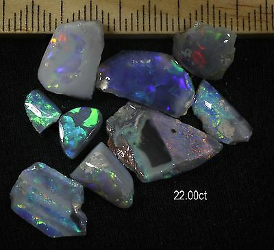PARCEL OF LIGHTNING RIDGE BLACK OPAL SMALL PIECES WITH BEAUTIFUL COLOURS 22.00ct