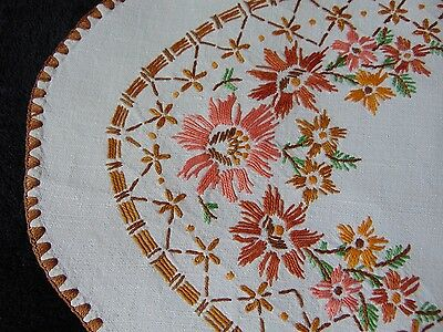 Vintage Rustic Linen Hand Embroidered Large Oval Centrepiece Immaculate