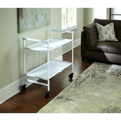 Rolling Bar Cart Folding Folds Flat Kitchen Patio Deck Serving White Handy NEW