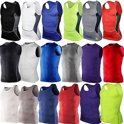 Men's Compression Tee Under Base Layer Tank Top Tights Sleeveless Shirts Sports