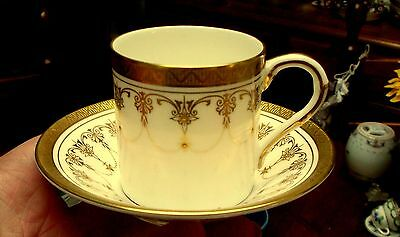 Royal Worcester Vintage Gold Imperial Demitasse Coffee Can and Saucer