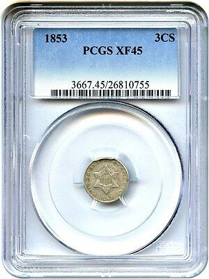 1853 3cS PCGS XF45 - 3-Cent Silver