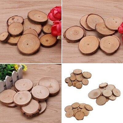 10Pcs Rustic Natural Round Wood Pine Tree Slices Craft Wedding Centerpiece DIY