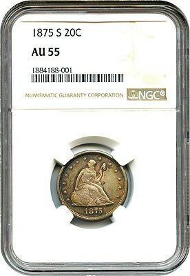 1875-S 20c NGC AU55 - Popular Type Coin - 20-Cent Piece - Popular Type Coin