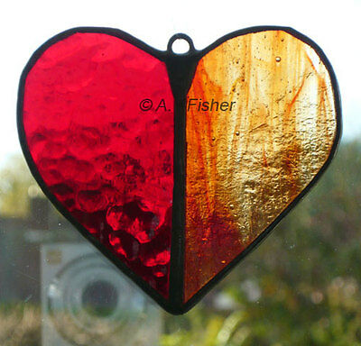 Stained Glass Heart - Red & Orange - Suncatcher - Handmade - NEW