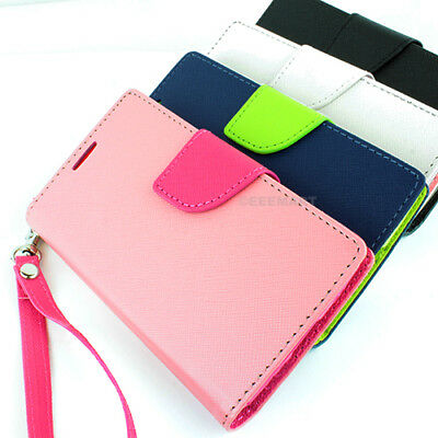 For Samsung Galaxy S5 S4 Wallet PU Leather Flip Folio Card Solt Case Cover