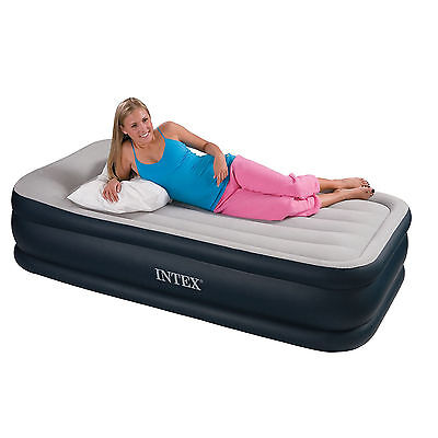 Intex Deluxe Raised Air Bed Airbed Mattress Single Built-in Electric Pump #64132