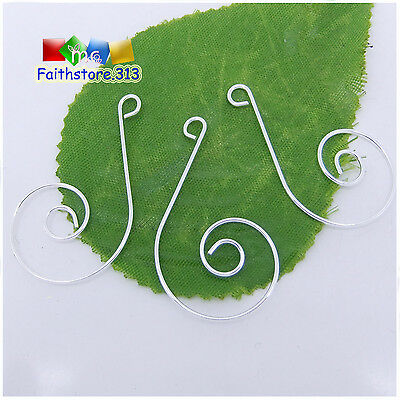 100 pcs Silver Premium Swirl Scroll Christmas Ornament Hooks Hangers 36mm P003