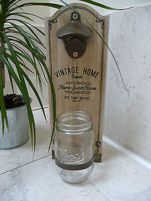 Shabby Wooden Wall Mounted Bottle Opener Unique Gift  New Boxed