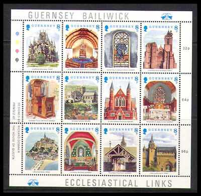 Guernsey 1988 Christmas/Churches/Buildings/Architecture 12v sht (b6191)