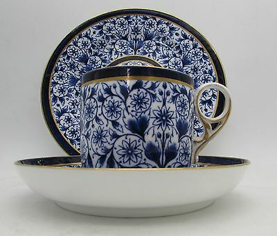 Antique DERBY LILY Flow BLUE & WHITE Trio ROYAL CROWN DERBY Cup Saucer Plate