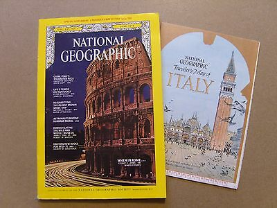National Geographic Magazine - June 1970 - Travellers Map Of Italy  Included