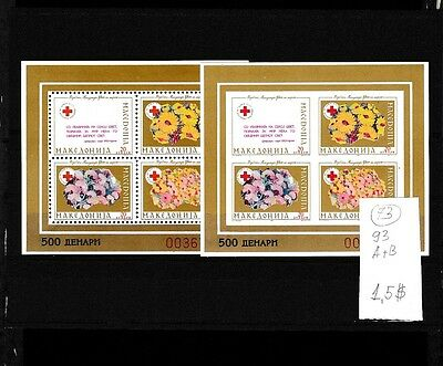 Macedonia 1993 MNH two s/sh Performed+Imperformed Red Cross Gold.(N).Lot 73.