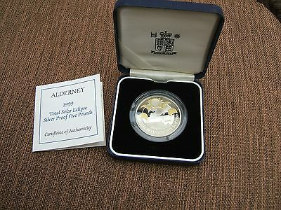 1999  Silver Proof 'total Eclipse'  Alderney Crown In Case With Coa.........133