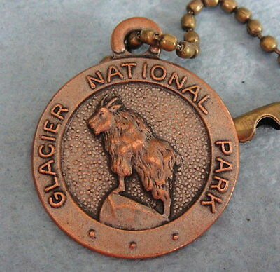 Vintage GLACIER NATIONAL PARK Key Fob Tag; w/Keychain; Great Image