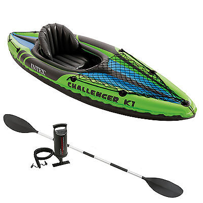 Intex K1 Challenger Kayak One Man Inflatable  Canoe + Oars and Pump #68305