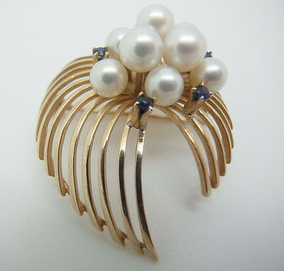 FINE VINTAGE ATOMIC ERA 50s REAL PEARL SAPPHIRE 14CT GOLD PENDANT BROOCH PIN 8g!