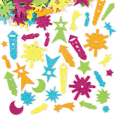 Firework Glitter Foam Stickers for Kid's Autumn Craft Projects (Pack of 125)