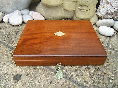 Superb  Large 19C Solid Mahogany Antique Document/jewellery Box - Fab Interior