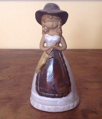 """Vintage Lego Japan Pottery Bell ~ 5 1/2"""" Girl With Umbrella • $0.99"""