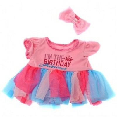 "Happy Birthday Princess dress outfit teddy bear clothes fits 15"" Build a Bear"