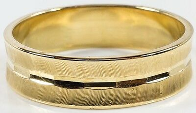 14K Yellow Gold 6mm Wide Brushed Wedding Band Ring Size 11 - 4.8 grams