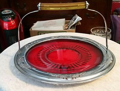 Farberware Chrome  11 3/4 inch Red Glass Bakolite handled plate Brooklyn NY