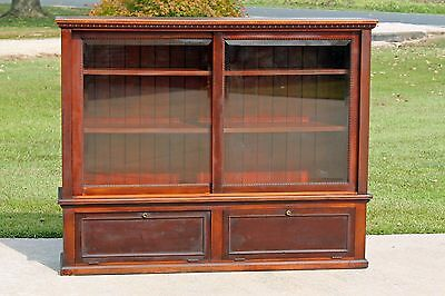 19th c Solid Mahogany Mercantile Store Display Counter Showcase Cabinet Bookcase