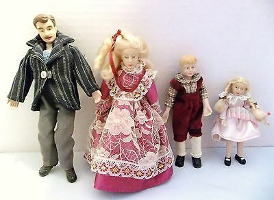 VINTAGE DOLLHOUSE FAMILY of 4, FATHER, MOTHER, SON & DAUGHTER, SCALE 1:12