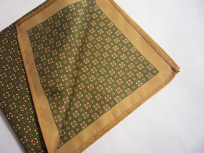 "pocket hankie square green flower 11 1/4"" sq new Vintage Dandy"