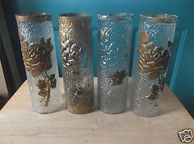 Four Vintage 8 3/4-Inch Clear and Gold Goofus Glass Vases with Floral Design